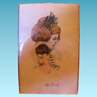 Little Girl with Her Dolly Antique Postcard