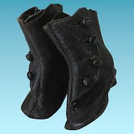 Antique Leather High Top Button Doll Shoes or Boots