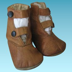 Vintage Baby Shoes Warm Toast Leather Soft and Pliable Great for Doll