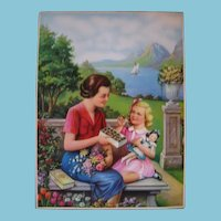 Vintage Lithograph with Mother Daughter Dolly and Chocolate!!