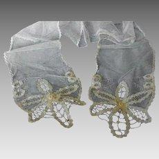 Antique Net Lace Scarf or Sash Edwardian or Victorian Era