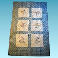 Embroidered Crib Quilt with Kittens at Work and Play