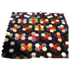 Handstitched Deep Rich Colored Velvet Hexagon Doll Quilt from Yesteryear