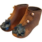 Adorable Tan Wool Baby Shoes with Blue Ribbon Adornments