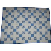 Vintage Doll Quilt Blue and White Postage Squares
