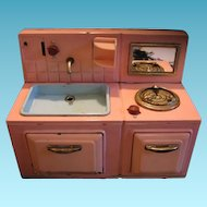 Vintage Small Sized Doll Metal  Kitchen Sink Stove Combination Unit
