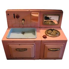 Vintage Small Sized Doll Metal  Kitchen Sink Stove Combination Unit - Red Tag Sale Item