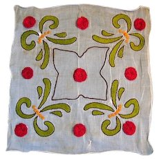 French Made Sheer Embroidered Hankie Hanky Table Linen Square