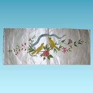 Vintage Painted Birds and Flowers Banner on Silk