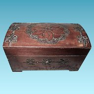 Vintage Carved Miniature Dome Top Trunk from Germany