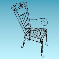 Fancy Metal Wire Doll Chair