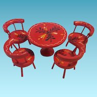 Red Folky Painted Dollhouse Table and Chairs
