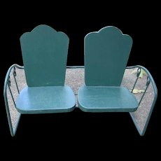 Wood and Metal Double Seat for Dolls or Bears