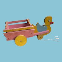 Ducky Pull Toy Vintage Duck Pulling Wooden Wagon Cart