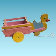 Vintage Duck Pulling Wooden Wagon Toy