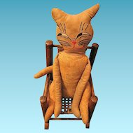 Vintage Primitive Quirky Cloth Cat Doll