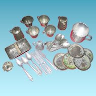 Old Toy Kitchenware Tin and Pewter 30 Pieces