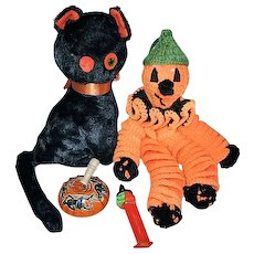 Vintage Halloween Black Cat Pumpkin Man Tin Noisemaker and Pez Witch