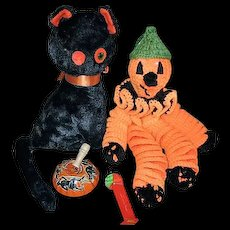 Vintage Halloween Black Cat Pumpkin Man Tin Noisemaker and Pez Witch