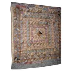 Antique Mennonite Made Crib Quilt Brown & Blue Check Fabrics