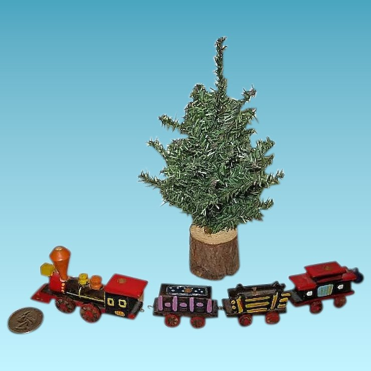 miniature christmas tree and wooden train for dollhouse or display - Miniature Christmas Tree