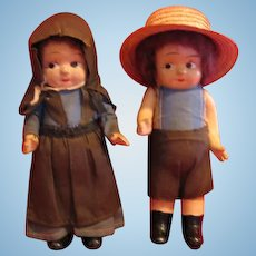 1930s Composition Amish Boy and Girl Dolls