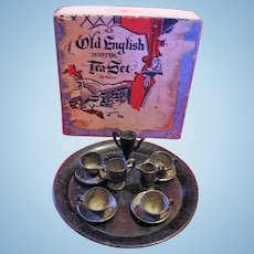 Tiny Little Old English Pewter Tea Set for Dollhouse or Doll Display