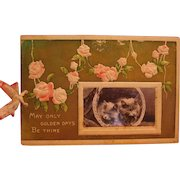 Wonderful Early 1900s Christmas Card with Real Kitten Photo Insert