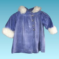Lovely Lavender Brushed Velvet Childs Coat with Soft Trim