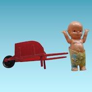 Vintage Kewpie Doll with Red Wheelbarrow