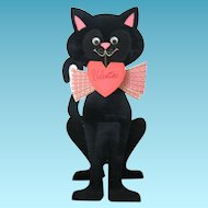 Fastastic Feline Huge Black Cat Flocked Diecut Valentine