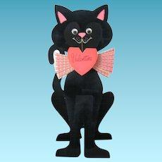 Fastastic Feline Huge Black Cat Flocked Diecut Valentine