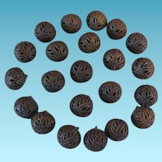 Early Metal Filigree Ball Buttons with Mirror Inserts