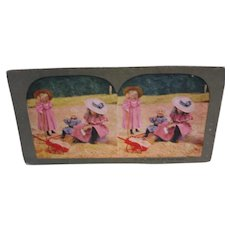 Stereoview Card Victorian Children Playing on Beach