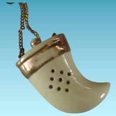Vintage Ceramic Horn of Plenty Perfume Holder Necklace