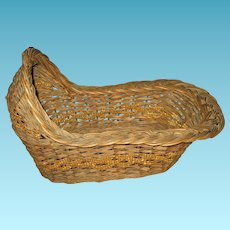 Early 1900s Woven Basket Doll Bed Crib or Cradle