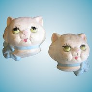 Two Kitten Head Plaster Wall Plaques 1940s
