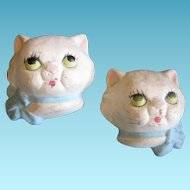 Two Kitten Head Plaster Wall Plaques 1940s