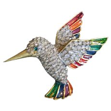Vintage Enameled and Rhinestone Hummingbird Pin