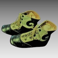 Blue and Black Antique Leather Baby Shoes with Scroll Design