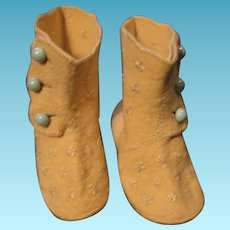 Vintage Baby Booties with Blue Buttons