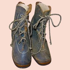 Antique Leather Baby Shoes or Boots with Copper Toe Plate