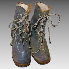 Antique Leather Baby Boots with Copper Toe Plate