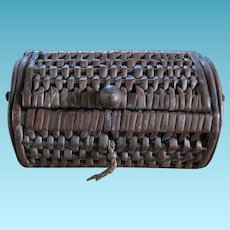 Childs Basket Weave Fishing Creel for Doll or Bear Display