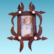 Wonderful Miniature Folk Art Picture Frame with Little Girl