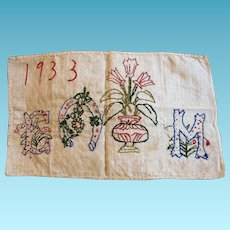 Good Luck Embroidered Initialed and Dated Cloth to Frame