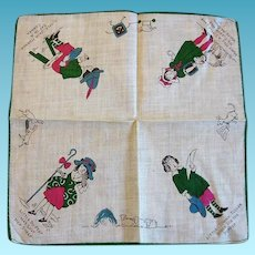 Vintage Childs Nursery Rhyme Hankie with 4 Favorites