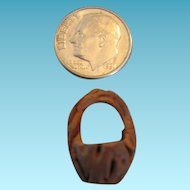 Miniature Carved Walnut Basket Teeny Tiny for Dollhouse