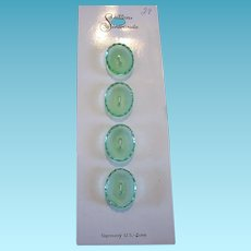 Vintage Green Glass Scalloped Oval Buttons from Germany US Zone NOS