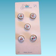 Vintage Hand Painted Glass Buttons from Germany NOS